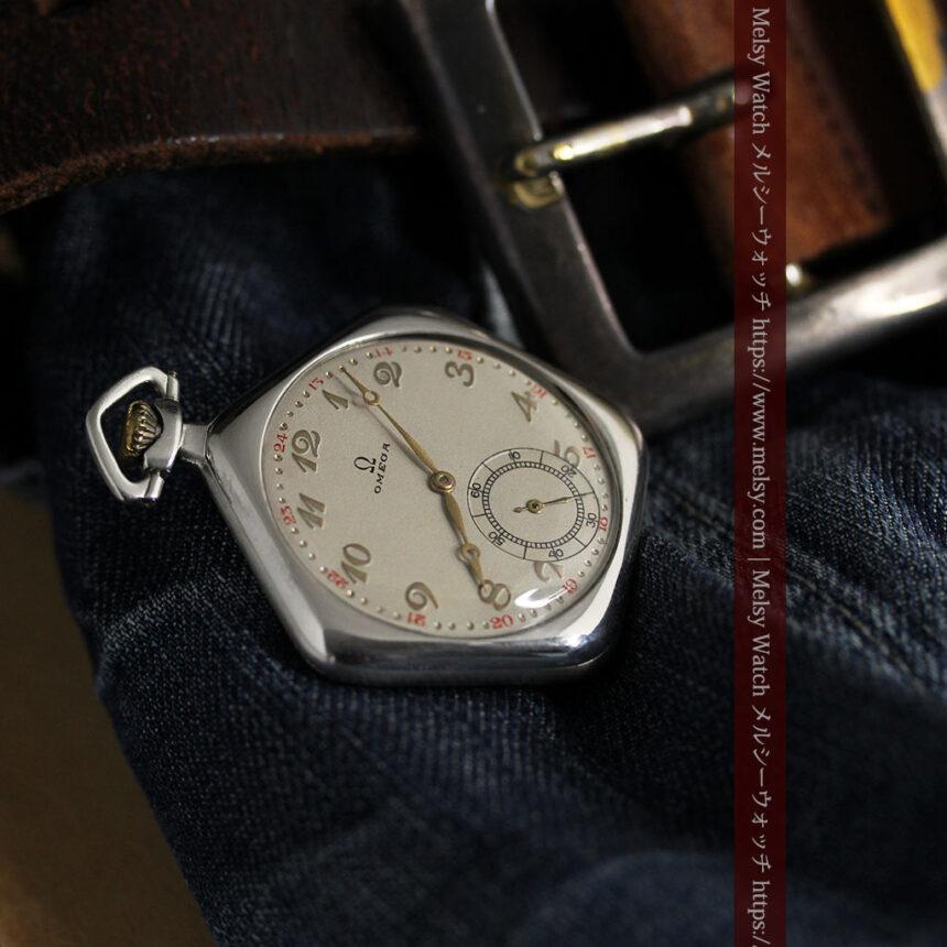 珍しく希少なオメガの五角形の銀無垢時計 【1904年製】-P2309-11