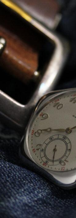 珍しく希少なオメガの五角形の銀無垢時計 【1904年製】-P2309-12