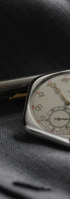 珍しく希少なオメガの五角形の銀無垢時計 【1904年製】-P2309-13
