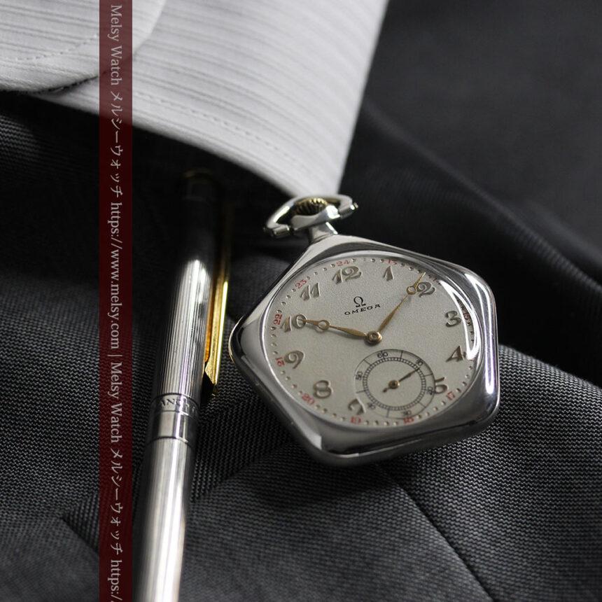 珍しく希少なオメガの五角形の銀無垢時計 【1904年製】-P2309-14