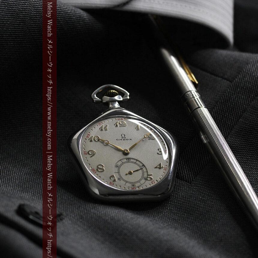 珍しく希少なオメガの五角形の銀無垢時計 【1904年製】-P2309-15