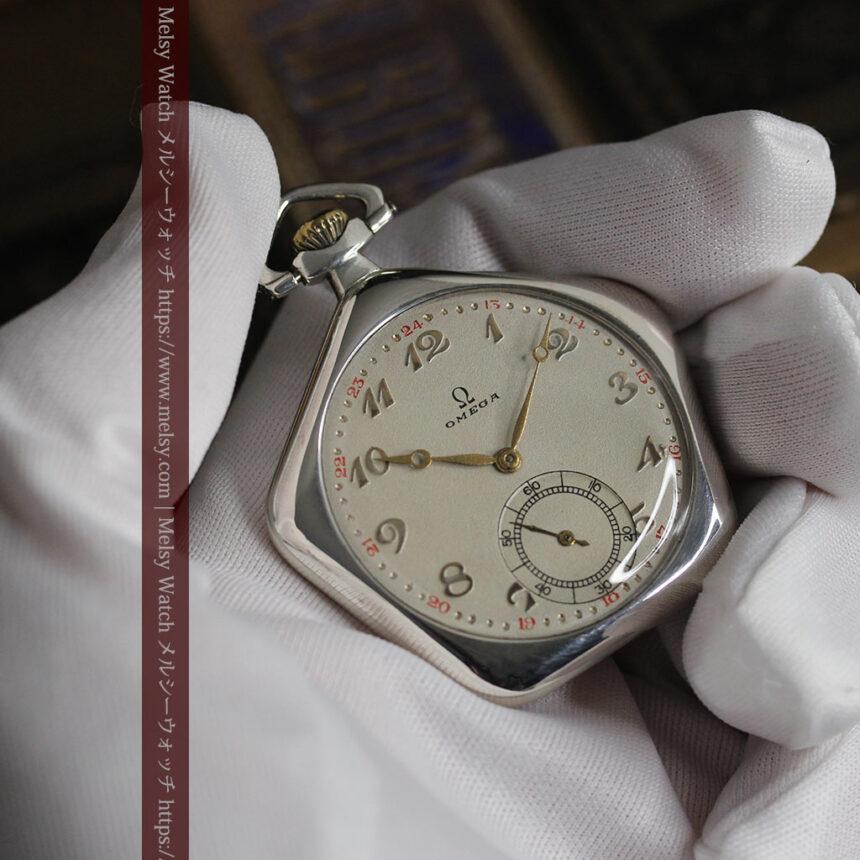 珍しく希少なオメガの五角形の銀無垢時計 【1904年製】-P2309-17