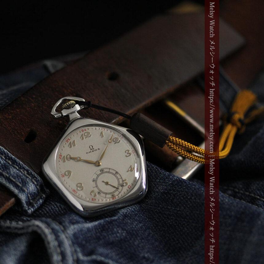 珍しく希少なオメガの五角形の銀無垢時計 【1904年製】-P2309-2