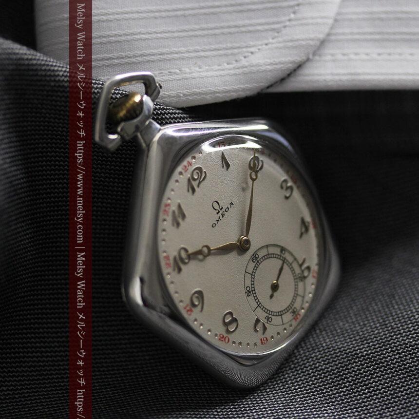 珍しく希少なオメガの五角形の銀無垢時計 【1904年製】-P2309-21