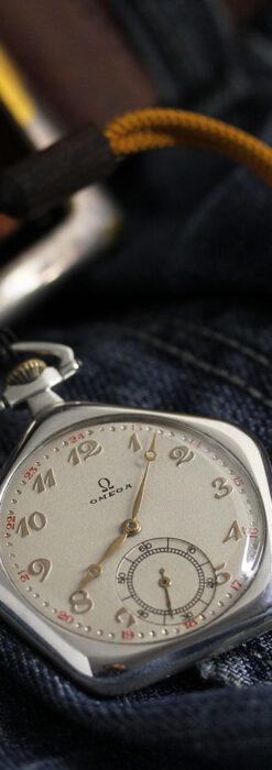 珍しく希少なオメガの五角形の銀無垢時計 【1904年製】-P2309-3