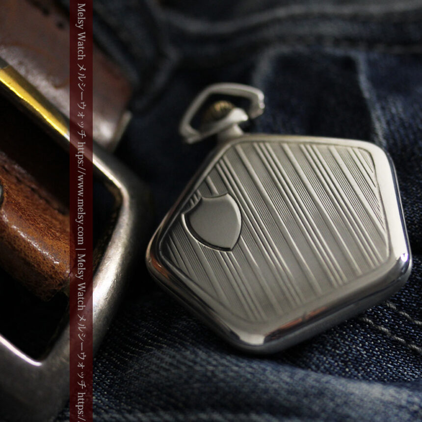 珍しく希少なオメガの五角形の銀無垢時計 【1904年製】-P2309-5