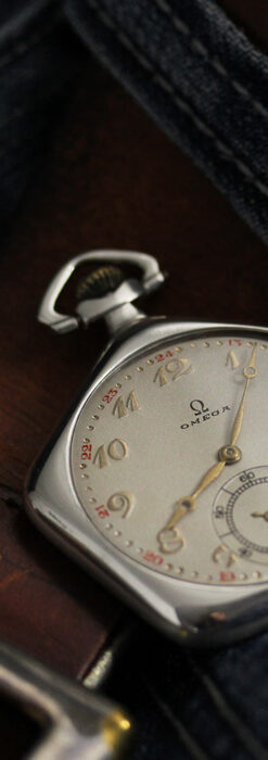 珍しく希少なオメガの五角形の銀無垢時計 【1904年製】-P2309-7