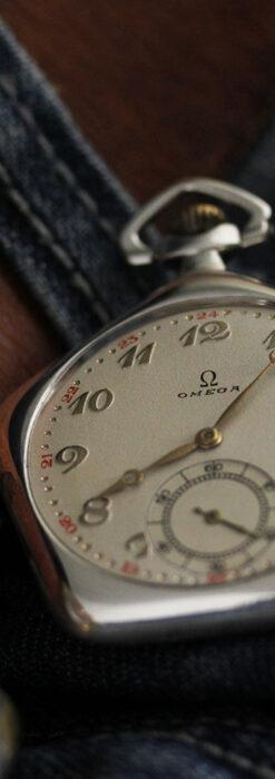 珍しく希少なオメガの五角形の銀無垢時計 【1904年製】-P2309-8