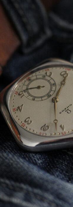 珍しく希少なオメガの五角形の銀無垢時計 【1904年製】-P2309-9
