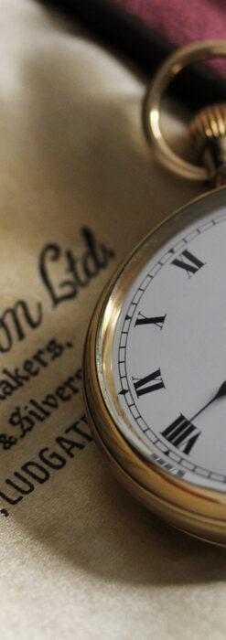 英国ベンソンの風格溢れる金無垢アンティーク懐中時計 【1931年頃】箱付き-P2310-1