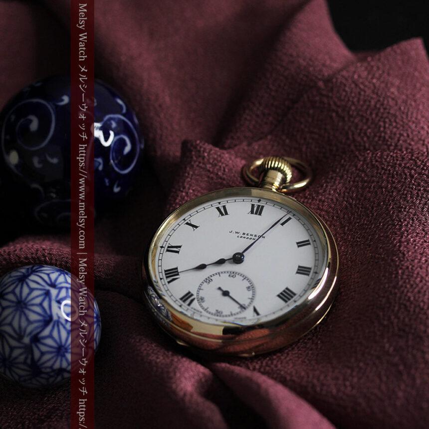英国ベンソンの風格溢れる金無垢アンティーク懐中時計 【1931年頃】箱付き-P2310-11