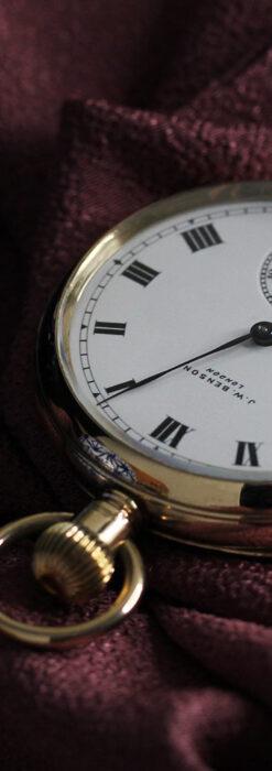 英国ベンソンの風格溢れる金無垢アンティーク懐中時計 【1931年頃】箱付き-P2310-12