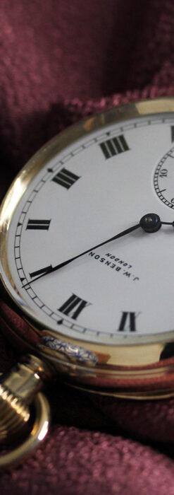 英国ベンソンの風格溢れる金無垢アンティーク懐中時計 【1931年頃】箱付き-P2310-13