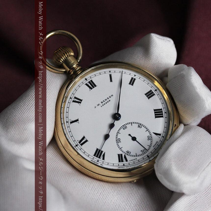 英国ベンソンの風格溢れる金無垢アンティーク懐中時計 【1931年頃】箱付き-P2310-14