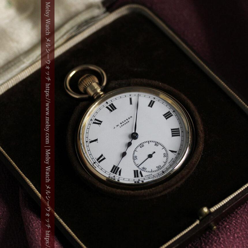 英国ベンソンの風格溢れる金無垢アンティーク懐中時計 【1931年頃】箱付き-P2310-21