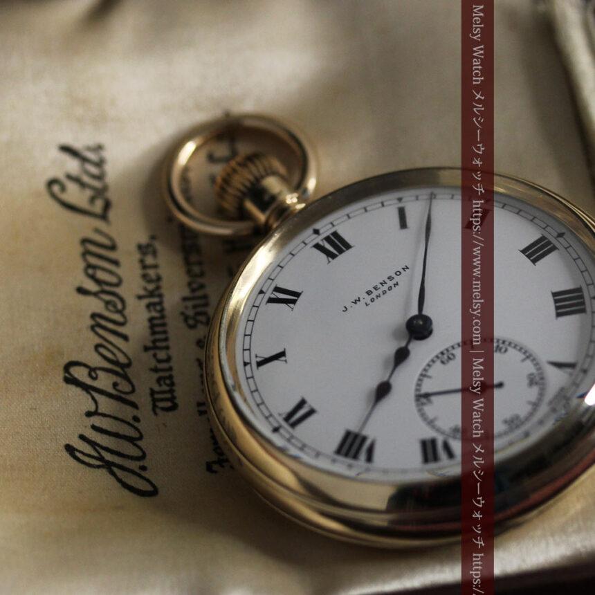 英国ベンソンの風格溢れる金無垢アンティーク懐中時計 【1931年頃】箱付き-P2310-3