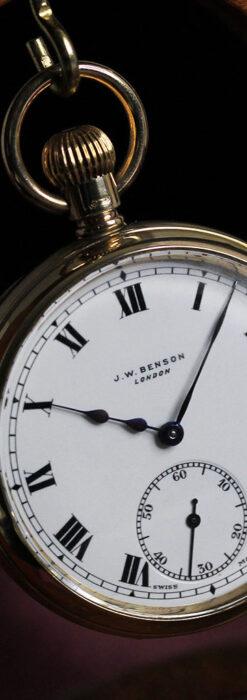 英国ベンソンの風格溢れる金無垢アンティーク懐中時計 【1931年頃】箱付き-P2310-4