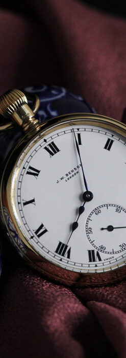 英国ベンソンの風格溢れる金無垢アンティーク懐中時計 【1931年頃】箱付き-P2310-5