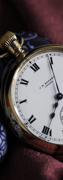 英国ベンソンの風格溢れる金無垢アンティーク懐中時計 【1931年頃】箱付き-P2310-7