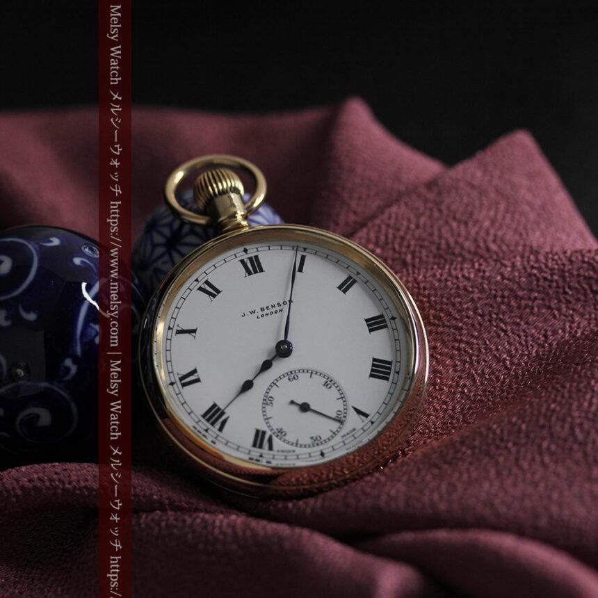 英国ベンソンの風格溢れる金無垢アンティーク懐中時計 【1931年頃】箱付き-P2310-8