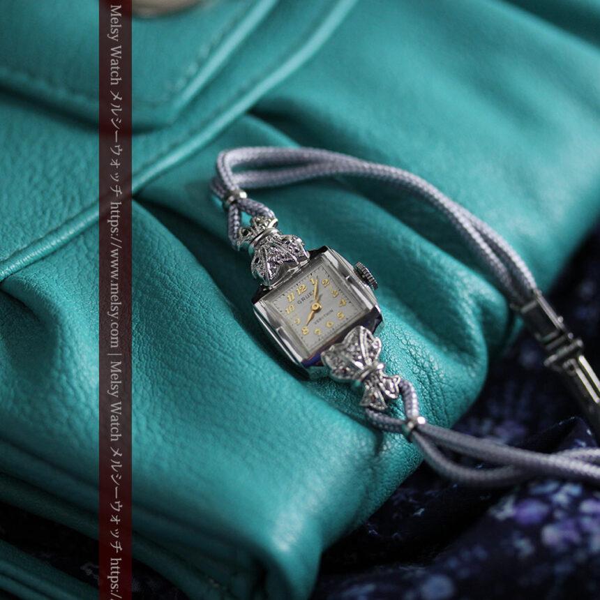 グリュエン 品の良い輝きの美しい女性用アンティーク腕時計 【1940年頃】-W1536-1