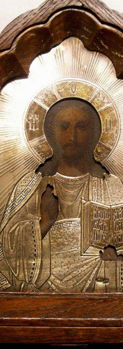 キリストと二聖人の三連祭壇画銀板イコン-A0126-1