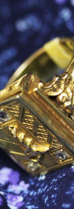 騎士の封蝋印とダイヤモンド・14金の指輪-A0202-1