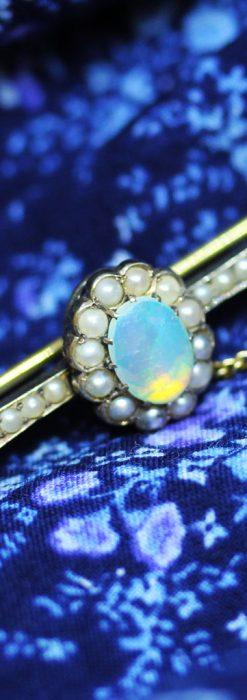 オパールと真珠の15金アンティークブローチ-A0208-1