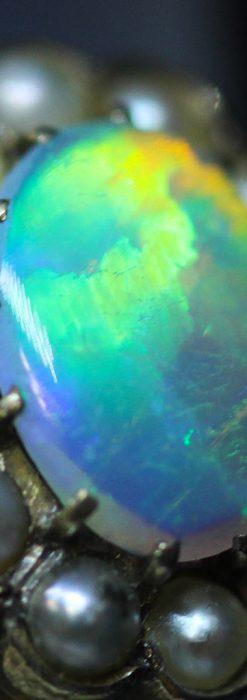 オパールと真珠の15金アンティークブローチ-A0208-2