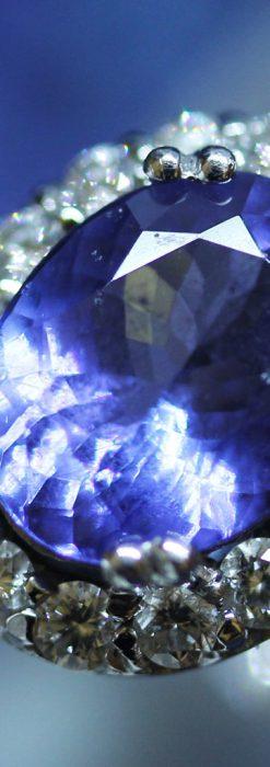大粒のタンザナイトとダイヤモンドの18金指輪-A0209-1