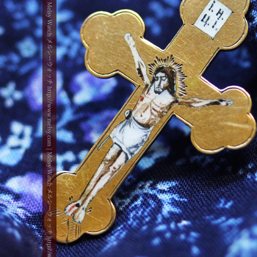 キリストの受難エナメル画の金無垢クロス-A0211-1
