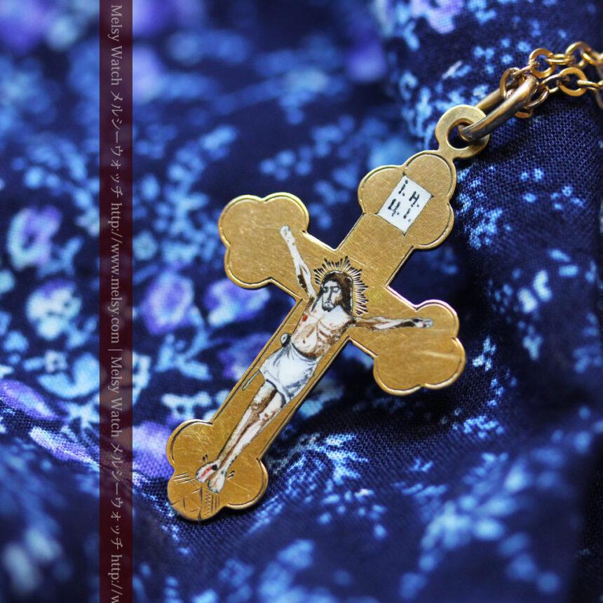 キリストの受難エナメル画の金無垢クロス-A0211-3