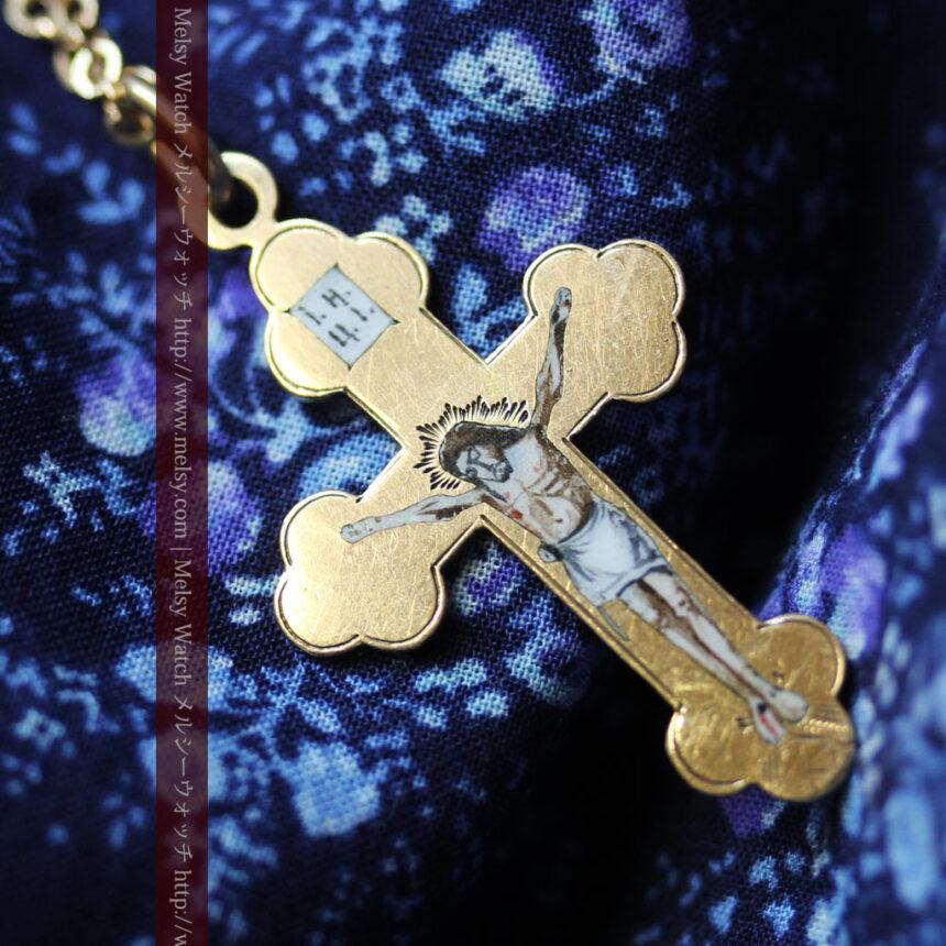 キリストの受難エナメル画の金無垢クロス-A0211-4