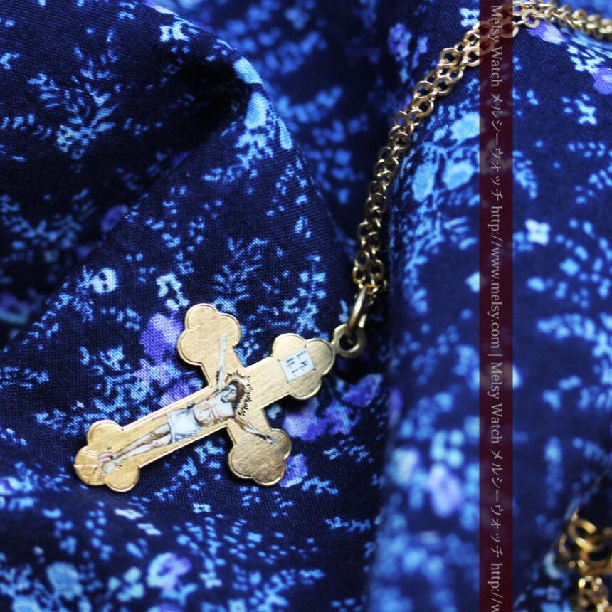 キリストの受難エナメル画の金無垢クロス-A0211-6