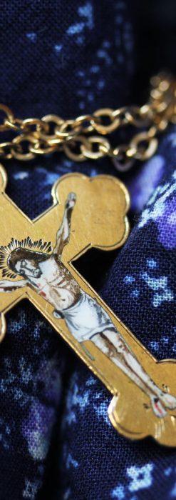 キリストの受難エナメル画の金無垢クロス-A0211-8