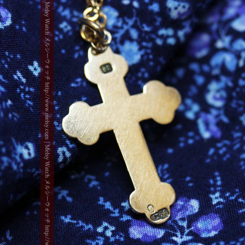 キリストの受難エナメル画の金無垢クロス-A0211-9