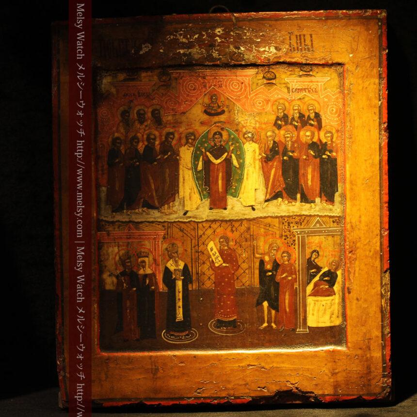 生神女庇護祭を描いた18世紀のイコン・聖画像-A0213-1