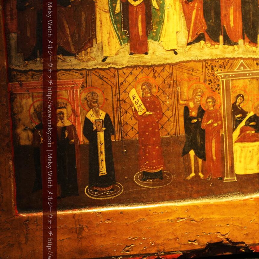 生神女庇護祭を描いた18世紀のイコン・聖画像-A0213-11