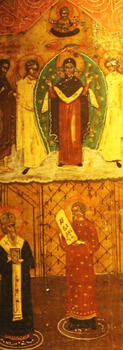 生神女庇護祭を描いた18世紀のイコン・聖画像-A0213-2
