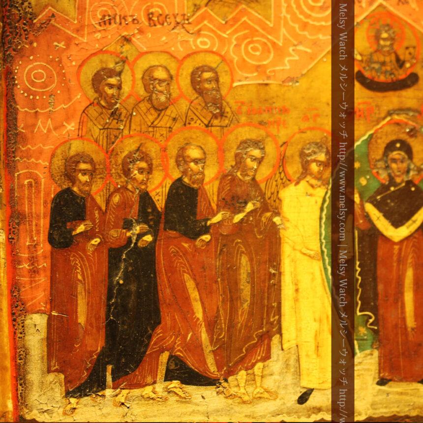 生神女庇護祭を描いた18世紀のイコン・聖画像-A0213-3