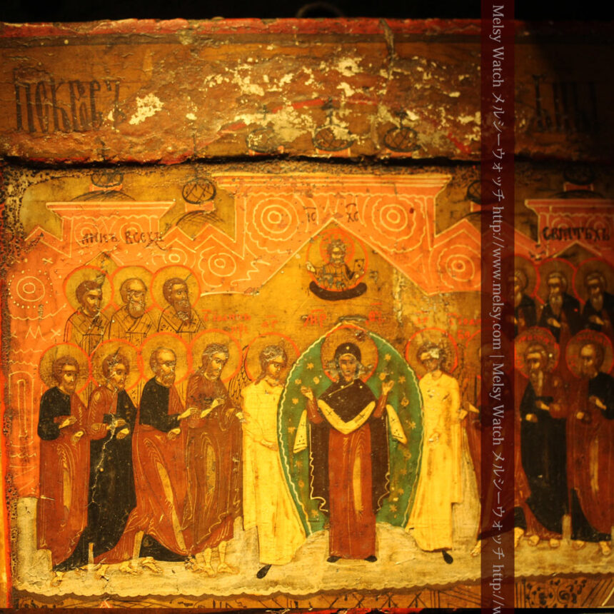 生神女庇護祭を描いた18世紀のイコン・聖画像-A0213-4