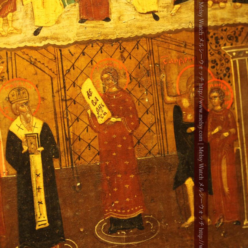 生神女庇護祭を描いた18世紀のイコン・聖画像-A0213-5