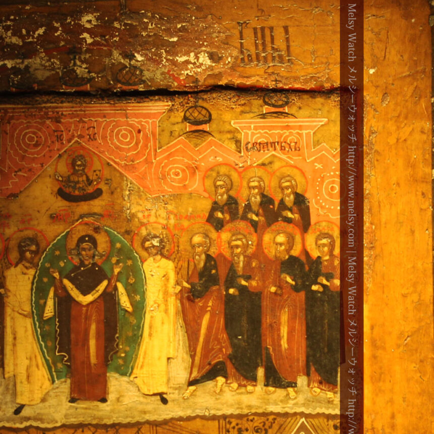 生神女庇護祭を描いた18世紀のイコン・聖画像-A0213-6