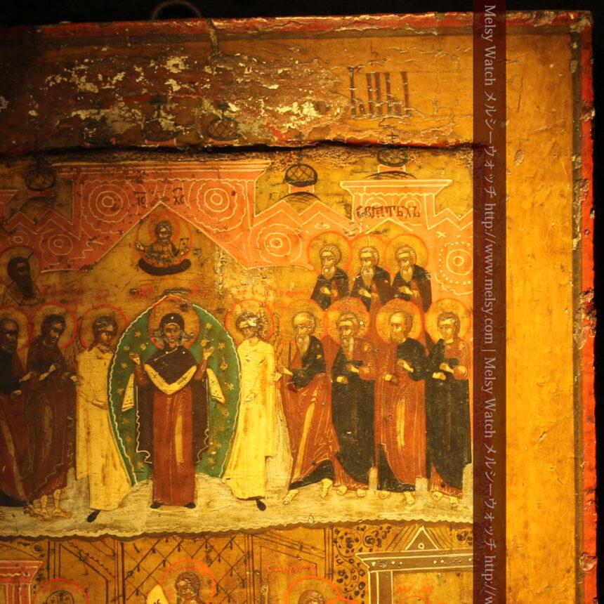 生神女庇護祭を描いた18世紀のイコン・聖画像-A0213-7