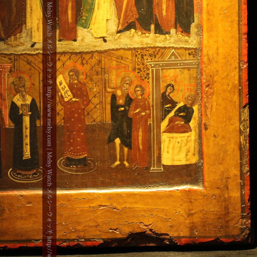 生神女庇護祭を描いた18世紀のイコン・聖画像-A0213-8