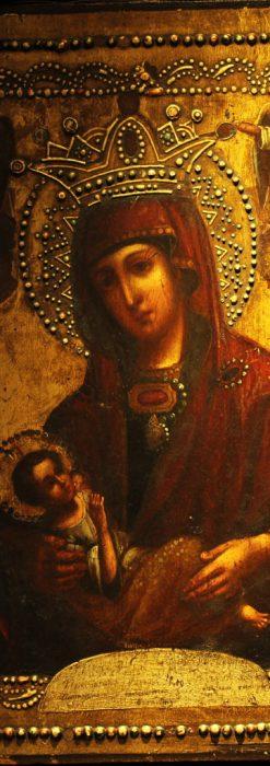 聖母マリアとイエスキリスト描いた1858年のイコン・聖画像-A0214-1