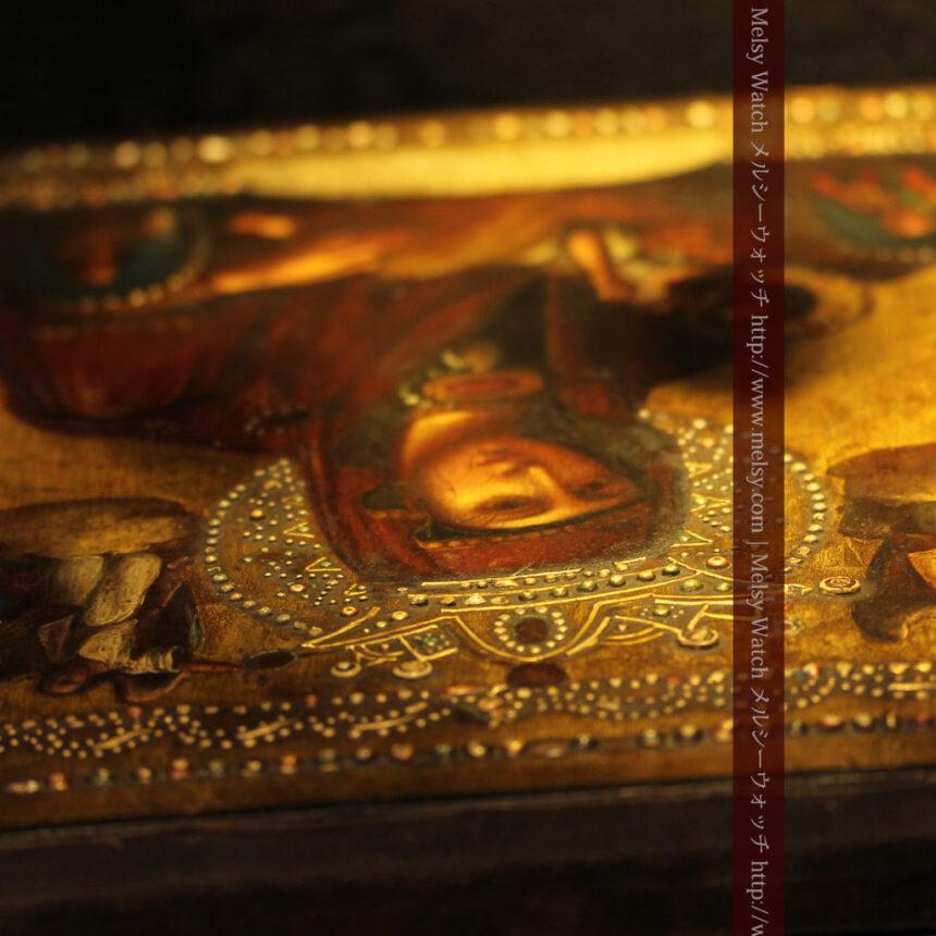 聖母マリアとイエスキリスト描いた1858年のイコン・聖画像-A0214-11