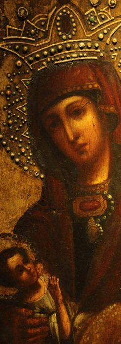 聖母マリアとイエスキリスト描いた1858年のイコン・聖画像-A0214-2