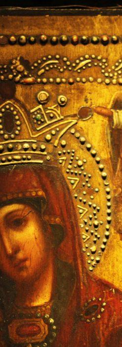 聖母マリアとイエスキリスト描いた1858年のイコン・聖画像-A0214-3