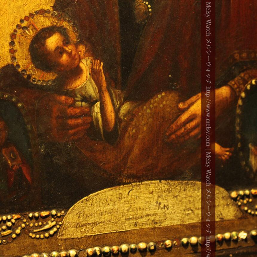 聖母マリアとイエスキリスト描いた1858年のイコン・聖画像-A0214-4